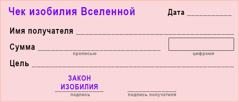 чек-изобилия